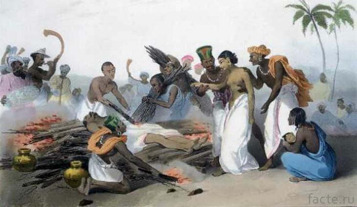 محنة المعزولين / صورة تخيلية لامرأة تقاد إلى الحرق مع زوجها المتوفى